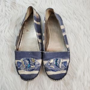 Coach Rorie Size 8.5 Blue Canvas Sequined Flats